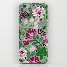 Magenta flowers on grey iPhone & iPod Skin