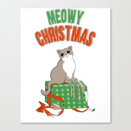 Meowy Christmas Cat Clawed Present T-Shirt Merry xmas Canvas Print