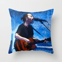 radiohead Throw Pillows featuring Radiohead / Thom Yorke by JR van Kampen