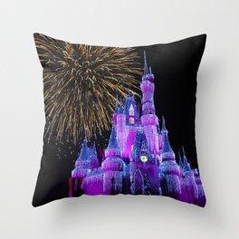 Disney Magic Kingdom Fireworks at Christmas - Cinderella Castle Throw Pillow