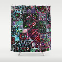 Galaxy Tile Pattern Shower Curtain