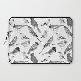 Black and white birds against white graphite artwork Laptop Sleeve