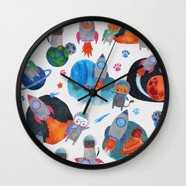 Watercolor Space Cats Rocket Ship Galaxy Pattern Wall Clock