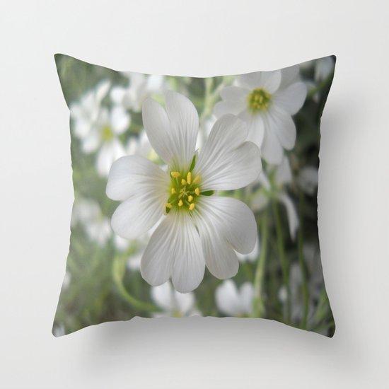 Spring. White Flowers. Throw Pillow