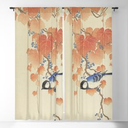 Great tit on paulownia branch (1925 - 1936) by Ohara Koson (1877-1945) Blackout Curtain