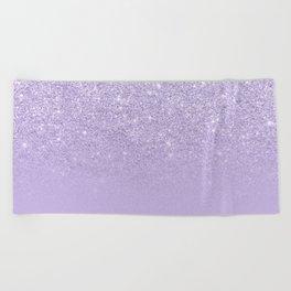 Stylish purple lavender glitter ombre color block Beach Towel