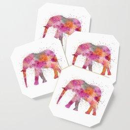Artsy watercolor Elephant bright orange pink colors Coaster