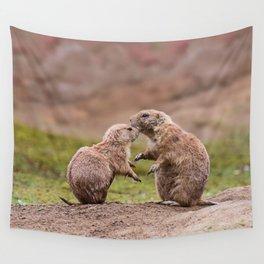 Cute Little Prairie Dogs In Love Wall Tapestry