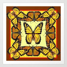 ORIGINAL DESIGN  ABSTRACT OF YELLOW & ORANGE MONARCH BUTTERFLIES BROWN ART Art Print