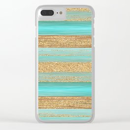 Turquoise Brown Faux Gold Glitter Stripes Pattern Clear iPhone Case