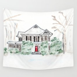 Thistlewood Farm, Watercolor, Farmhouse, Red Door, Kentucky Wall Tapestry