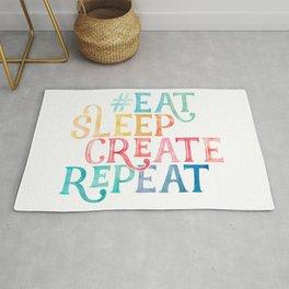 Eat Sleep Create Repeat Quote Rug