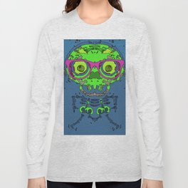 green funny skull art portrait with pink glasses and blue background Long Sleeve T-shirt