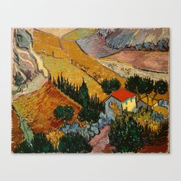 Landscape With House And Ploughman - Van Gogh Canvas Print