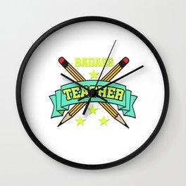 1st Best Teacher teaching school love children teach Tshirt Wall Clock