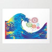 hokusai Art Prints featuring Hokusai Rainbow & Fireworks  by FACTORIE