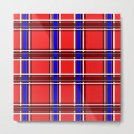 Red blue plaid Metal Print