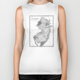 Vintage Map of New Jersey (1827) BW Biker Tank