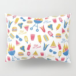 Summer BBQ Pattern - Blue Red Yellow Pillow Sham