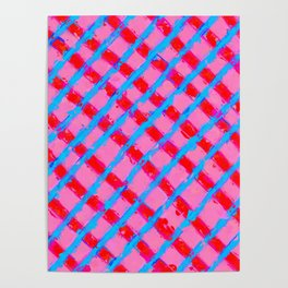 line pattern painting abstract background in pink red blue Poster