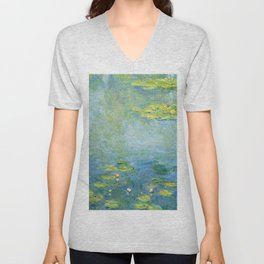 1906-Claude Monet-Waterlilies-73 x 92 Unisex V-Neck