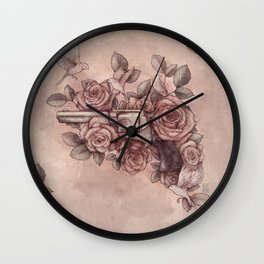 Guns & Flowers Wall Clock