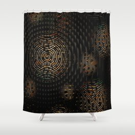 Dark and Orange Circle Weave Pattern Shower Curtain