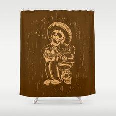 Dia De Los Muertos woodcut Shower Curtain