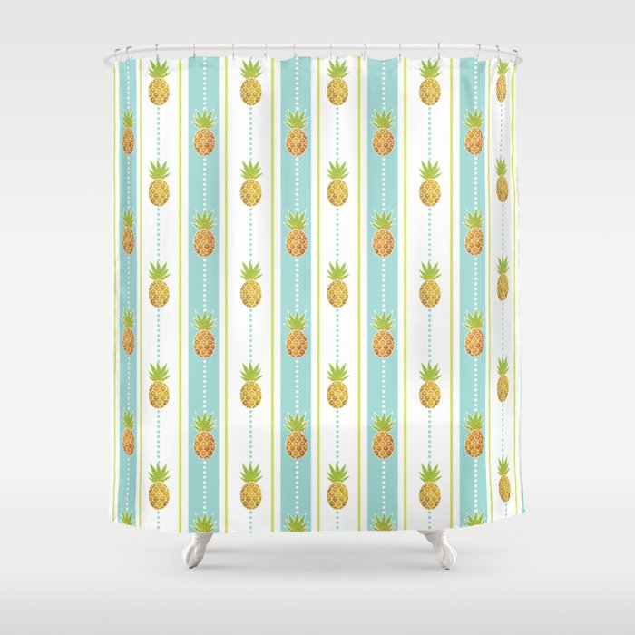 Vintage Glitter Pineapples Shower Curtain By Tanyalegere
