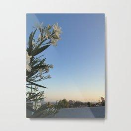 White Flower & Skyline Metal Print