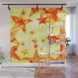 Glowing red and yellow stars on a light background in projection and with depth. Wall Mural