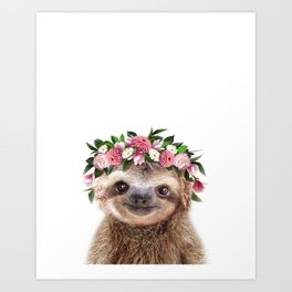 Baby Sloth With Flower Crown, Baby Animals Art Print By Synplus Art Print