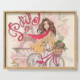 Beautiful Girl On A Bicycle In Paris Serving Tray
