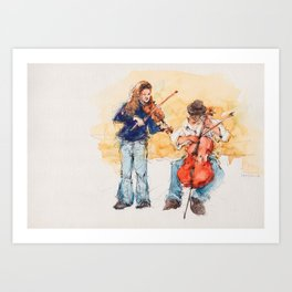 Buskers in Rome Art Print