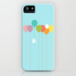 Fluffy bunnies and the rainbow balloons iPhone Case