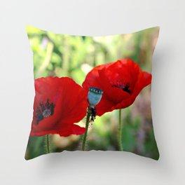 poppies in the summer Throw Pillow