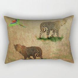 Parrot Flight Through Leopards Rectangular Pillow