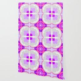 Purple Floral Tiles Wallpaper