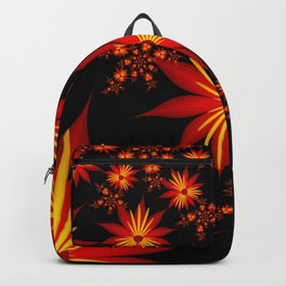 Flower Power Red, Yellow, Black Backgound Backpack