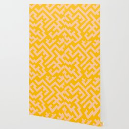 Deep Peach Orange and Amber Orange Diagonal Labyrinth Wallpaper