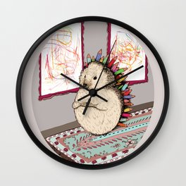 Hedgehog Artist Wall Clock
