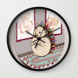 Hedgehog Artist Wall Clock