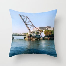Draw bridge in Harbor lsland Throw Pillow