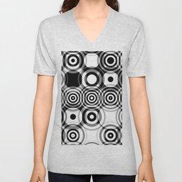 Abstract Trippy Optical Black & White Art No. 2  Unisex V-Neck