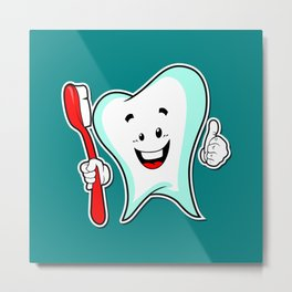 Dental Care happy Tooth with Toothbush Metal Print