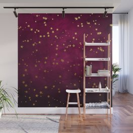 Fuchsia Gold Stars Wall Mural