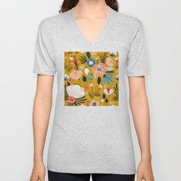 Mid-Century Modern Floral Print on Mellow-Yellow Unisex V-Neck