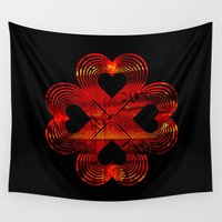 valentines Wall Tapestries featuring Valentines - Lucky in Love by Khana's Web