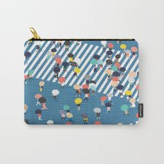 Crossing The Street On a Rainy Day - Blue Carry-All Pouch
