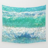 breaking Wall Tapestries featuring Breaking Waves by Teresa Pople